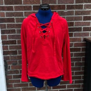 Red Bell Sleeve Sweatshirt